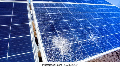 Broken destroyed solar panel  outside