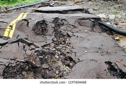 Broken And Destruction Of Road