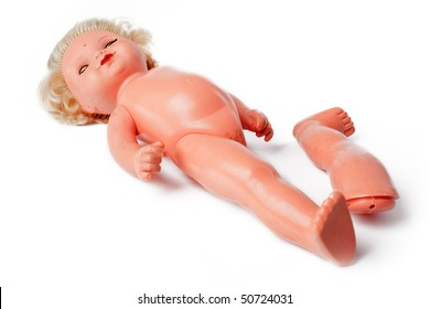 broken doll on white background