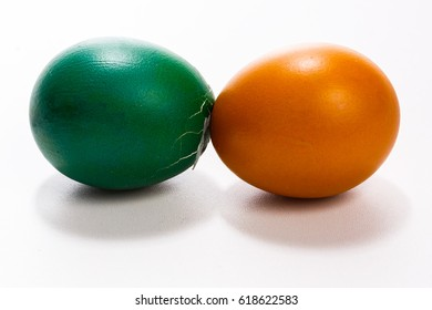 Broken easter egg. Colored eggs. Cracked shell