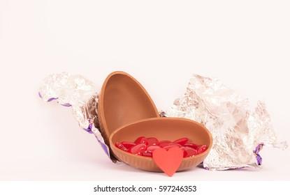 Broken Easter Eggs with heart,