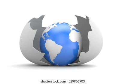 Broken egg shell with a globe inside. 3d illustration