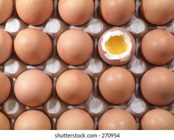 Broken egg surrounded by unbroken eggs.