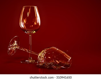 Broken Empty Wine Glass