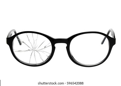 Broken Eyeglasses isolated on white background