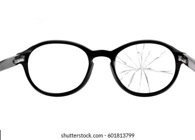 Broken Eyeglasses isolated on white background