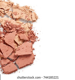 Broken face powder isolated on white background