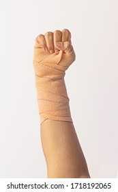 Broken female hand fist, punching up. Stay strong, healthy.