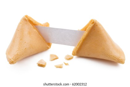 Broken fortune cookie with blank slip isolated on white.