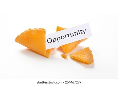 Broken fortune cookies with opportunity on the fortune