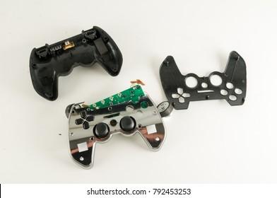 Broken Gamepad Joystick on white backrgound
