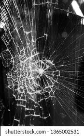 Broken glass background on city lights background