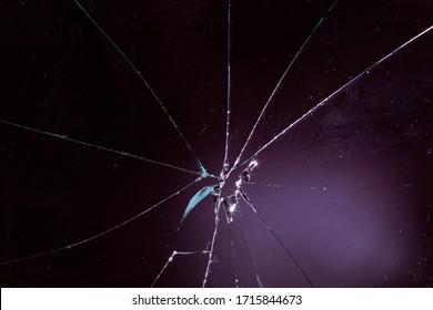 broken glass in black background
