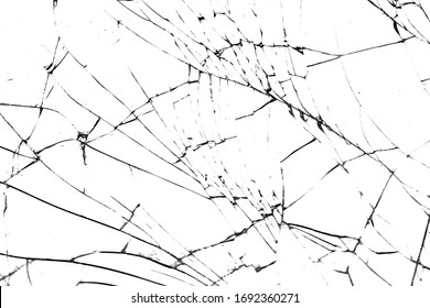 BROKEN GLASS. black crack isolated on white background