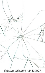 Broken glass with black cracks on white background