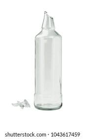 Broken Glass Bottle on White Background