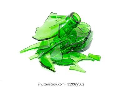 Broken glass bottle. Recyclable garbage series.