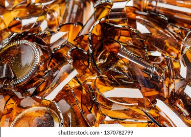 broken glass bottles on white background. recycling concept