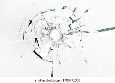 Broken glass from a bullet. Bullet inlet.