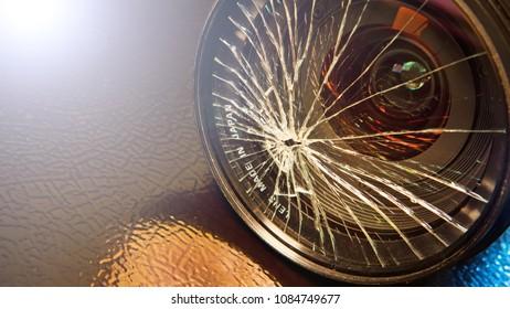broken glass of camera lens