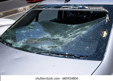 Broken glass in car. Close-Up Of Shattered Windshield