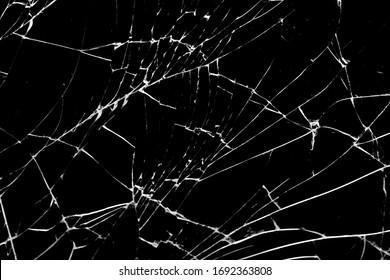 broken glass. cracks isolated on black background