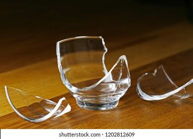 Broken glass cup.