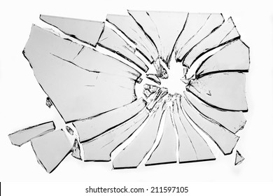 broken glass isolated on white background
