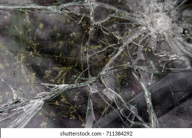 broken  glass, many cracks, a hit from a rock