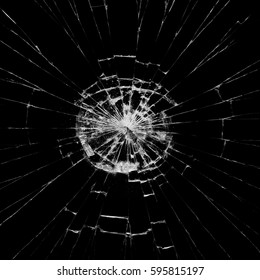 Broken glass on black background ,texture backdrop object design accident crash concept