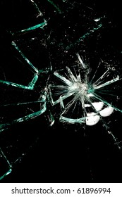 broken glass on a black background