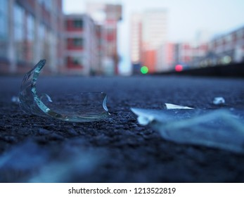 broken glass on the street Zlin areal Svit