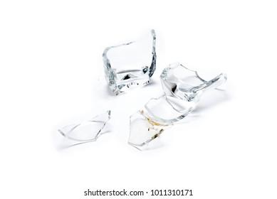 Broken glass on white background.