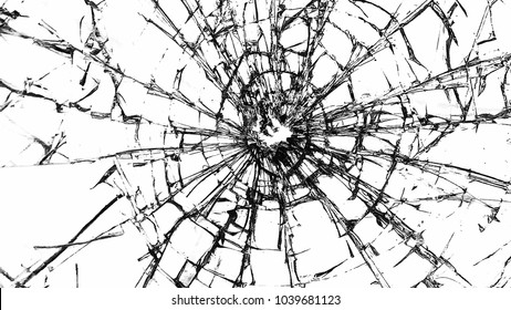 broken glass on a white background.