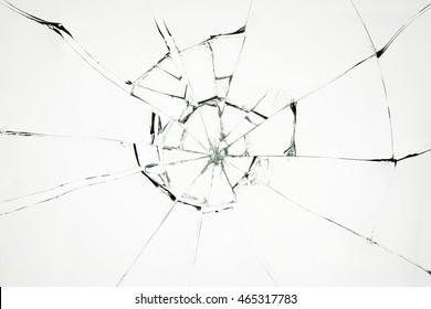 Broken glass on white background , texture backdrop object design