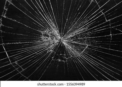 Broken Glass Pane. Smashed Glass window