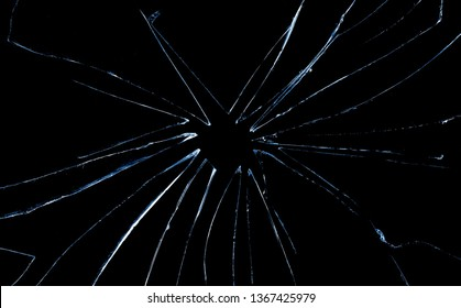 Broken glass texture and background, isolated on black, cracked window effect, clipping path