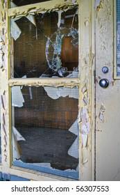 Broken Glass Window in Abandoned Building