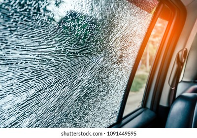 Broken glass window car damaged has accident