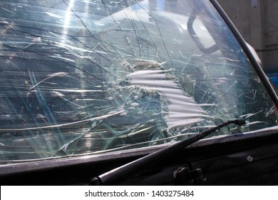 Broken Glass Windshield Of A Truck
