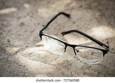 broken glasses on the asphalt. street accident concept