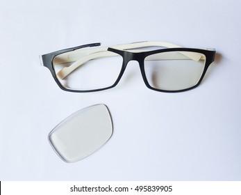 broken glasses on white backgroun