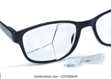 broken glasses on a white background.