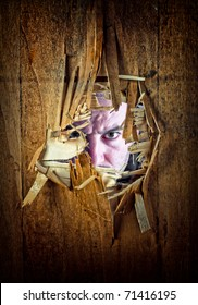 broken grunge wood and caucasina man portrait looking