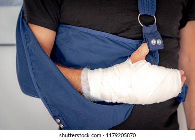 Broken hand, A man with hand operation (trigger finger) Hand surgery with pressure bandage, Hand with wrapped plaster and  arm sling.
