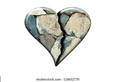 Broken heart concept. Stone texture shaped in a form of heart with a crack in the middle