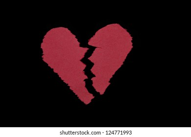 Broken Heart, Construction Paper, Isolated on Black