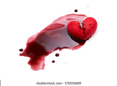 broken heart crack and blood isolated on white relationship concept suicide