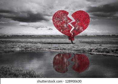 Broken heart tree. Black and white