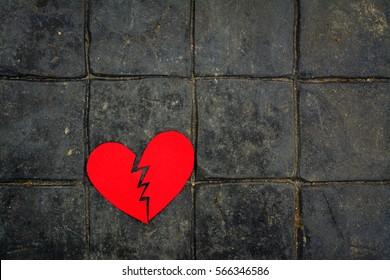 Broken hearth paper,Love concept.